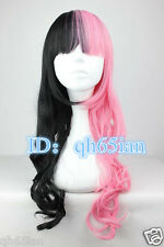 Ladies Long Pink black Mix Hair Curly Wavy Wigs Cosplay Party Costume Wig