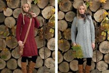 James C Brett Ladies Sweater Tunic Dress Rustic Aran Yarn Knitting Pattern JB100