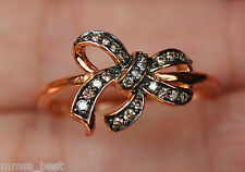New 10K Sz 7 0.14ct Champagne & Chocolate Diamond Bow Ring Rose Gold