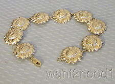 "estate vtg 14K YELLOW GOLD CARVED SUNFLOWER BRACELET 8"" sculpted flower link 10g"