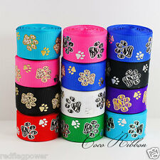 Mix Lot 12 Yards Sparkle Animal Print Paw Grosgrain Ribbon Wholesale Sample