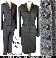 44 NEXT 8 40s WW2 GREY 3 PIECE SUIT WOOL TWEED MILITARY PENCIL SKIRT TROUSER