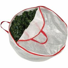 Household Essentials 30-Inch Circular Wreath Storage Bag with Red Trim, New