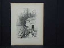 Full Page Engraving, C.1872 S3#90 Old Mill, Reems's Creek, North Carolina