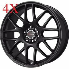 Drag Wheels DR-34 14x5.5 4x100 4x114 Flat Black Rims For Colt Metro Mirage Coro