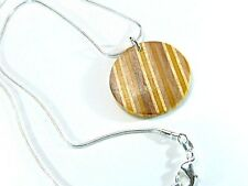 Recycled Skateboard, Circle Necklace, Wood Striped Necklace