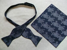 NEW MENS SELF TIE DICKIE BOW MIDNIGHT BLUE FLORAL BOWTIE & TOP POCKET HANKIE