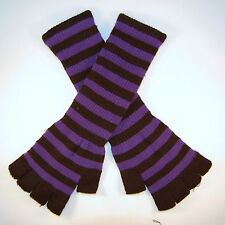 Striped Stripey Long Magic Unisex One Size Fingerless Gloves Emo Gothic Punk