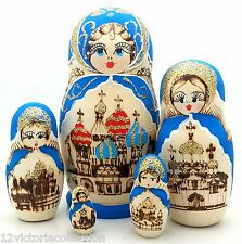 RUSSIAN Gold Blue CHURCH WOOD BURN Hand carved Hand painted NESTING DOLL