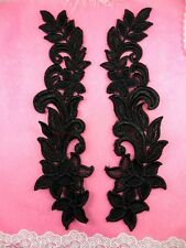 "Venise Lace Appliques Floral Mirror Pair Black Flower Set of Two 10"" (N93X-bk)"
