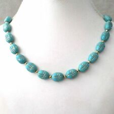 SCARAB TURQUOISE & GOLD ETCHED BEADED NECKLACE ~ FETCHING!