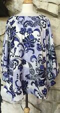 CHICOS Blossoming Floral Purple White Poncho Top Chico's  L XL = 3 NEW