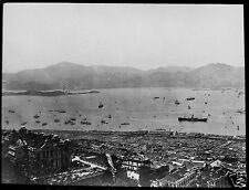 Glass Magic Lantern Slide VICTORIA HARBOUR HONG KONG C1900 PHOTO CHINA