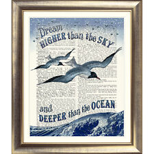 ART PRINT ON ORIGINAL ANTIQUE BOOK PAGE Picture Seaside Nautical Bird Quote Sea
