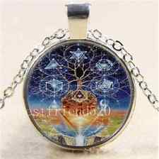 Soul Tree Of Life Photo Cabochon Glass Tibet Silver Chain Pendant Necklace