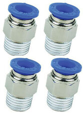 """1/4"""" BSP Male to 12mm Pack of 4 Straight Push In Pneumatic Fitting 1/4-12mm Stud"""