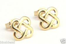 CLASSIC 9ct GOLD SQUARE OVAL LINK CELTIC KNOT STUDS EARRINGS X'MAS B'DAY GIFTBOX