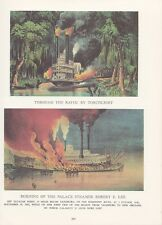 "1974 Vintage Currier & Ives ""BURNING STEAMBOAT ROBERT E. LEE"" COLOR Lithograph"