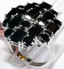 Thai Black Spinel Ring Platinum Overlay Sterling Silver (Size 8.5) 12.75 Cts