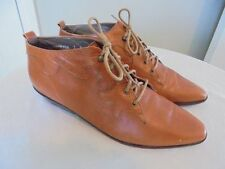 Vtg GLACEE Brown Leather Cutout Ankle Boots Lace Up Booties Pixie Oxfords 7 B