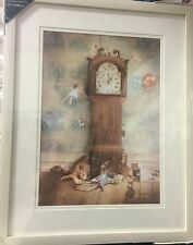 VINTAGE SHABBY CHIC Nursery Pixies Fairies Framed Picture Wall Art NEW Off White