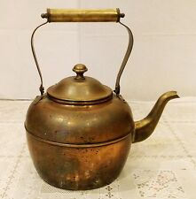 Vintage Copper Overlay and Brass Tea Kettle Tea Pot with Movable Handle Korea