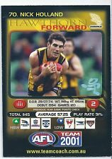 2001 Teamcoach Prize Card (70) Nick HOLLAND Hawthorn