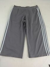 ADIDAS WOMENS SOFT GRAY & PALE BLUE POLY SPANDEX BLEND ATHLETIC CAPRIS SIZE M