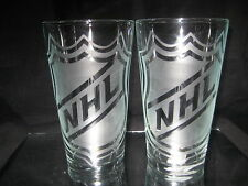 NATIONAL HOCKEY LEAGUE NHL LOGO ETCHED PINT GLASSES NEW