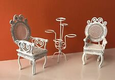 Braided wire Doll House Out Door  Garden Chairs &Plant Stand Dollhouse Furniture