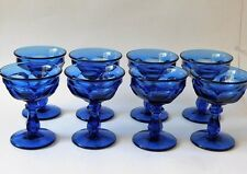 Vintage Cobalt Blue Champagne Coupe Cocktail Glasses Martini Glasses Set of 8