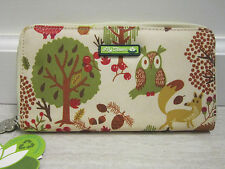 NWT Lily Bloom Forest Owl Zip around Checkbook Wallet Removable Mirror New