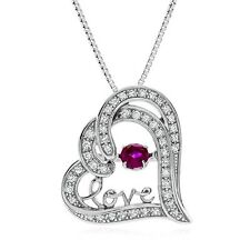 Created Ruby & White Sapphire Love Heart Pendant in Sterling Silver - 18""