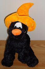 """Halloween Black Cat w/Orange Witch's Hat 12"""" stuffed plush by Snuggie Toy"""