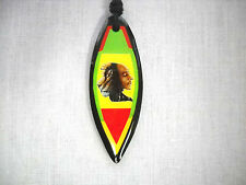 NEW LION OF JUDAH & BOB MARLEY MERGE SURFBOARD RASTA COLORS PENDANT ADJ NECKLACE