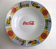 EUC COCA-COLA WHITE STONEWARE SOUP BOWL VTG. CAR & OLD HOUSE DESIGN ON RIM 9""