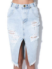 One Teaspoon Brando Cadillac Faded Denim Distressed Pencil Split Blue Skirt  11