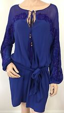 EMILIO PUCCI UK 8-USA 6 -I 40  RRP £ 2280 ELECTRIC BLUE TUNIC DRESS -BELT & BAG