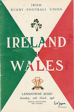 IRELAND v WALES 1956 RUGBY PROGRAMME, LANSDOWNE Rd, DUBLIN, 10 March