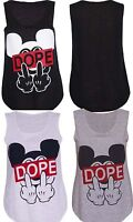 Womens New Dope Mickey Mouse Printed Stretch Ladies Sleeveless T-Shirt Vest Top