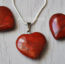 925 Silver Necklace & Natural Red Jasper Heart Pendant  Reiki Healing Stone 2cm