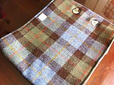 Blue brown Harris tweed scarf cowl Scottish gift tartan