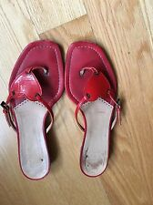 New Moschino Cheap and Chic Red Leather Sandals sz 7 B Flip Flops