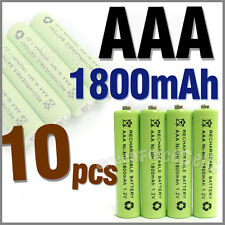 10 pcs AAA 3A 1800mAh 1.2V Ni-MH Rechargeable Battery Cell Green
