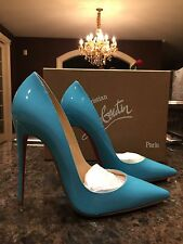NIB Christian Louboutin So Kate Patent 120mm Pacific Blue Stiletto Pump  Sz 36