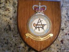 Vtg. Royal Air Force Station UXBRIDGE wooden wall shield plaque w crest