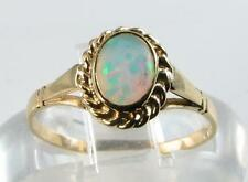 CLASSIC ENGLISH 9K GOLD OVAL FIERY OPAL SOLITAIRE RING FREE RESIZE