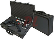 4 FOUR PISTOL Hand GUN CASE Aluminum Alloy DIE-CUT Foam Combination Lock - Black