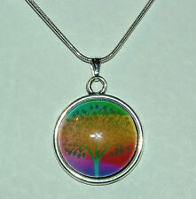 YELLOW MULTI COLOUR MAGIC TREE GLASS PENDANT SILVER PLATED MOUNT & ROUND CHAIN