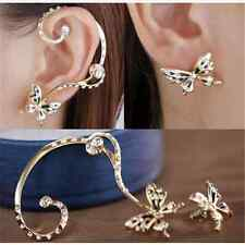 Fashion Nice Women Butterfly Ear Cuff Stud Crystal Rhinestone Earrings Gift FT